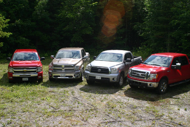 The Four Truck Lineup For The 2009 Canadian Truck King Challenge