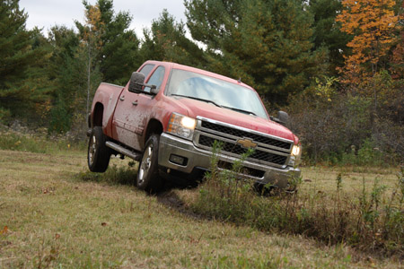 The Chevy Silverado 2500 Running The Off-Camber Section Of the Off Road Course.
